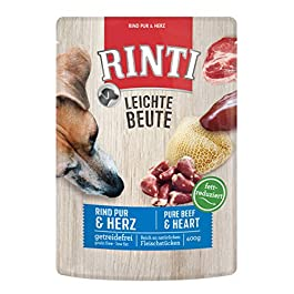 Rinti Dog Food Light Prey Beef and Poultry Hearts Pack of 10 (10 x 400 g)