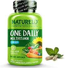 NATURELO One Daily Multivitamin for Men - with Vitamins & Minerals + Organic Whole Foods - Supplement to Boost Energy, General Health - Non-GMO - 120 Capsules   4 Month Supply