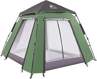 HEWOLF Kupoltält pop-up tält för 3-4 personer automatisk camping vattentätt tält med veranda, 2-dörrars och 2-rutigt dubbe...