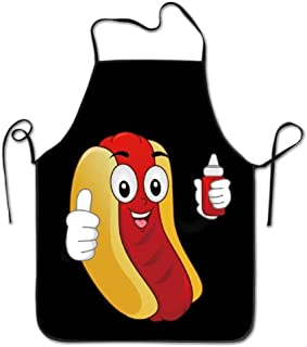 Novelty Funny Hotdog Ketchup Unisex Kitchen Chef Apron - Chef Apron For Cooking,Baking,Crafting,Gardening And BBQ