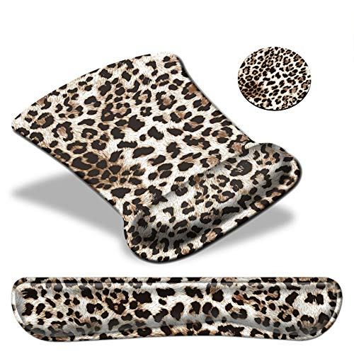 Keyboard Wrist Rest Pad & Mouse pad with Wrist Rest Support Set,Ergonomic Gaming Mouse Pad Coaster Keyboard Wrist Support with Memory Foam for Easy Typing Pain Relief - Leopard Print