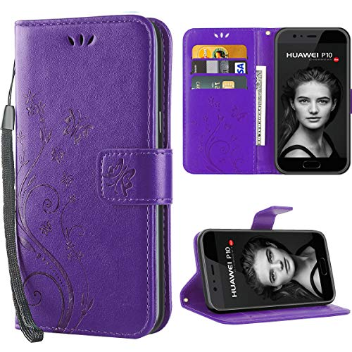 iDoer für Huawei P10 hülle,Solide Butterfly PU Ledercase Tasche Schutzhülle Huawei P10 flipcase Magnetverschluss Handyhülle im Wallet - Lila