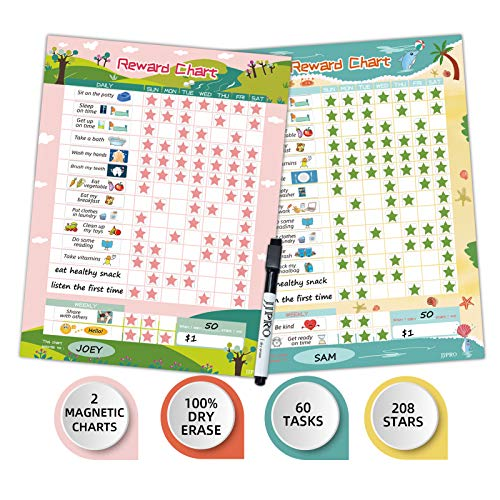 """Dry Erase Bahavior Chart for Kid at Home, Magnetic Chore Chart for Kid, Reusable Reward Chart for Kids Behavior. Includes 60 Tasks, 208 Stars and Two 11"""" x 14.5"""" Magnetic Charts- 2 Pack Pink/Yellow"""