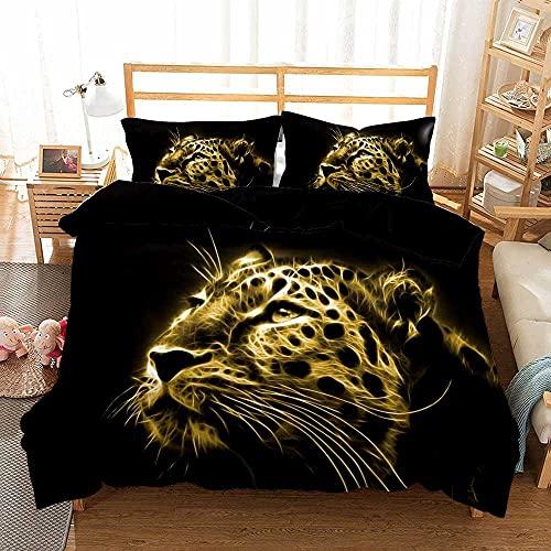 ZSDFAEG Juego de Funda nórdica Juego de Cama 3 Piezas Leopardo Animal Negro Impresión Multicolor Juego de edredón y 2 Fundas de Almohada, Fácil de cuidar (240x260 cm)