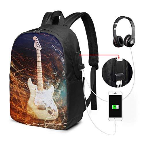 Mochila única para computadora portátil Guitarra eléctrica rodeada con la Bolsa Lightnings1732...