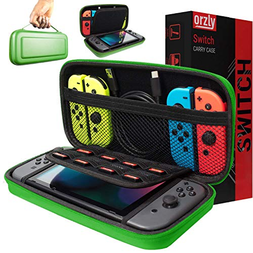Funda de Orzly para Transportar la Nintendo Switch – Verde Funda Dura de Viaje para Llevar la Nintendo Switch y Sus Accesorios