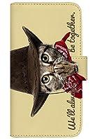 with NYAGO 手帳型 ケース レザー 厚手タイプ au Mi 10 Lite 5G (XIG01) カウボーイ ソラちゃん 肉球をペロペロするにゃー。 かわいい猫フェイス手帳 7041 クリーム イエロー