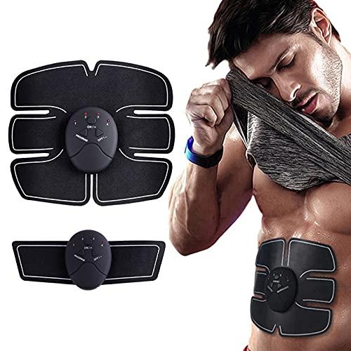 Mecmbj Electroestimulador Muscular Abdominales, Estimulador Muscular EMS Estimulación Muscular Eléctrica Tonificar ABS Stimulator para Hombres y Mujeres, 6 Modos y 10 Niveles de Intensidad