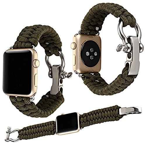 Qianyou Armband Kompatibel mit Apple Watch Series 3/2/1, 38mm Paracord Nylon Sport Erstatzband,Armeegrün