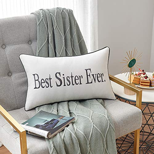 Sanmetex Sister Gifts from Sister, Brother -Best Sister Ever Home Decor Lumbar Pillow Cover for Mothers Day, Thanksging Day and Christmas. (30X50cm) Color Grey.