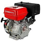 EBERTH 13 PS 9,56 kW Benzinmotor Standmotor Kartmotor Antriebsmotor Austauschmotor (22 mm Ø Welle, V-Shaft, Ölmangelsicherung, 1 Zylinder Benzinmotor, 4-Takt, luftgekühlt, Seilzugstart) rot