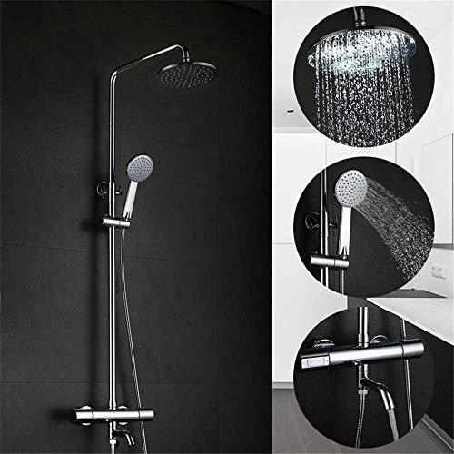 Europees thermostaat douchesysteem voor badkamer met dubbele neusgreep, regendouchekop, verstelbare douchestang, wandmontage, meerdere functies, gepolijst chroom