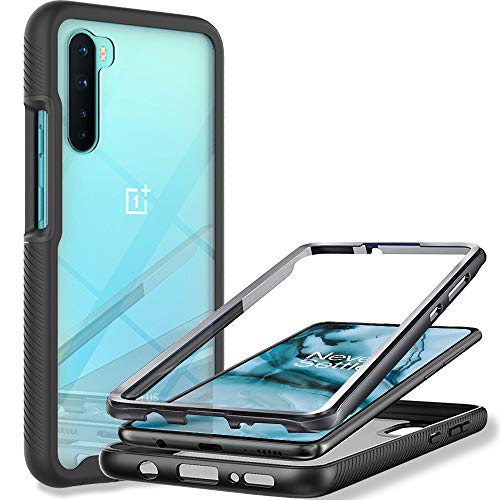 OnePlus Nord Case, LaimTop 360° Full Body Clear Back Cover with Screen Protector Dual Layer Shockproof Anti-Slip Rugged Bumper Case for OnePlus Nord Black