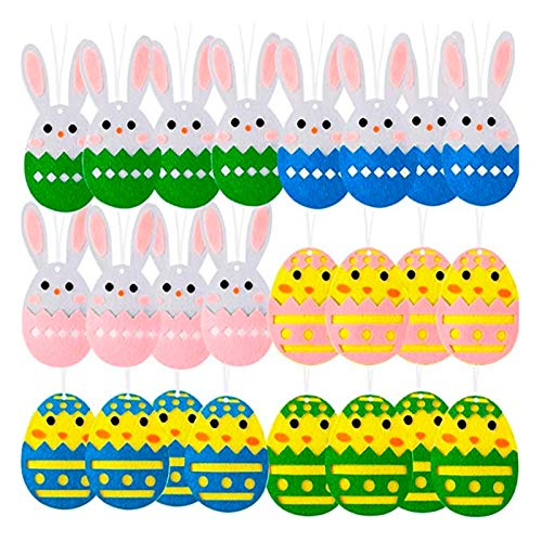 WANDIC decorazioni pasquali da appendere, 24 pezzi, in feltro pasquale da appendere, decorazioni in tessuto non tessuto, uova di Pasqua, coniglietto, pulcini, decorazioni da appendere per alber