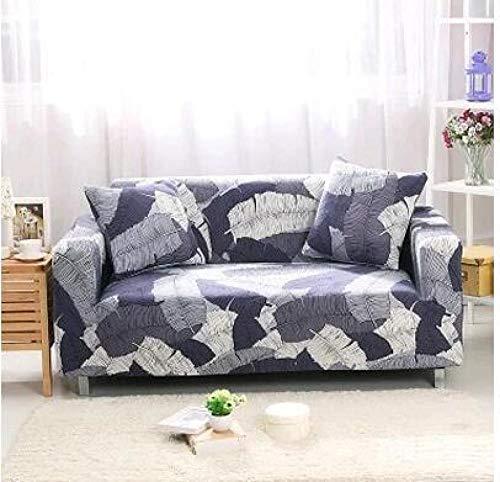 Funda Sofas 2 y 3 Plazas Hojas Blancas Moradas Fundas para Sofa con Diseño Universal,Cubre Sofa Ajustables,Fundas Sofa Elasticas,Funda de Sofa Chaise Longue,Protector Cubierta para Sofá