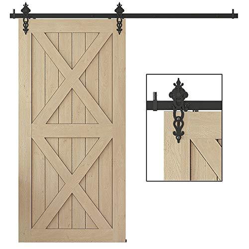 WINSOON Interior Sliding Barn Door Hardware Kit 5FT Heavy Duty Single Door Track Rail Rollers System Set for Cabinet Closet