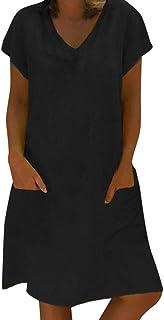 Vestidos De Camiseta para Mujer Tallas Grandes Verano Casual Color Sólido Camisa Larga