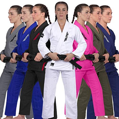 Elite Sports Ultra-Light Women's BJJ GI - IBJJF Jiu-Jitsu GI for Women (See Special Sizing Guide) (White, F4)