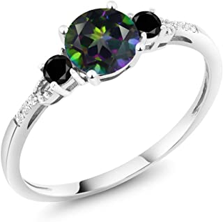 10K White Gold Diamond Accent 3-stone Engagement Ring set with Green Mystic Topaz Black Diamond 1.18 cttw