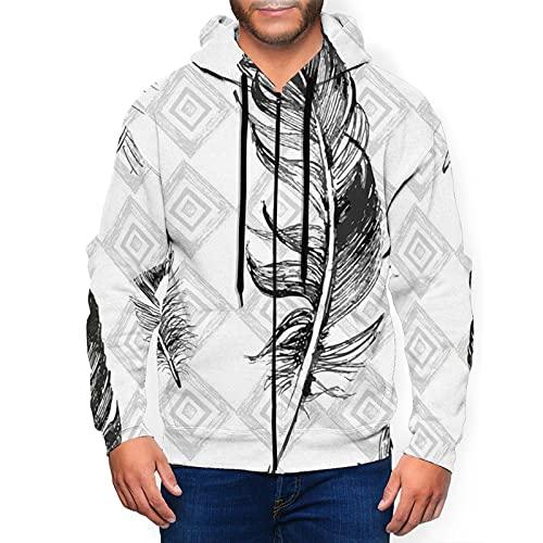 Sudadera con capucha para hombre con cremallera completa con capucha y diseño clásico con capucha, Pluma Desteñida Patrón Geométrico Negro, L