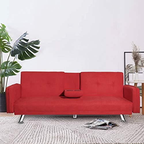MOOSENG Futon Bed Couch, Modern Convertible Sofa Sleeper with Removable Armrest and Metal Legs Home Furniture for Living Room Fold Up and Down Recliner with 2 Cup Holders, Red