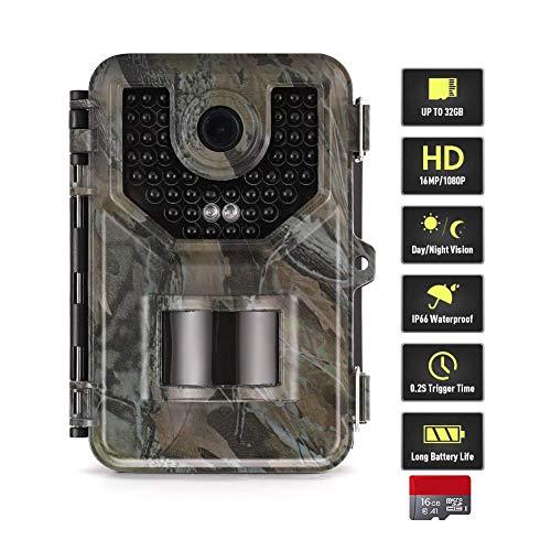 QWWQ Wildkamera Fotofalle Mit Bewegungsmelder Nachtsicht 16MP 1080P Full HD Wildtierkamera Mit Infrarot No Glow LEDs Und IP66 Wasserdicht Jagdkamera Für Tierbeobachtung Haussicherheitsüberwachung