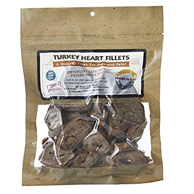 Fresh Is Best Freeze Dried Turkey Heart Filets, Made in The USA, Single Ingredient Natural, Healthy Dog & Cat Treats (Turkey Heart Filets)
