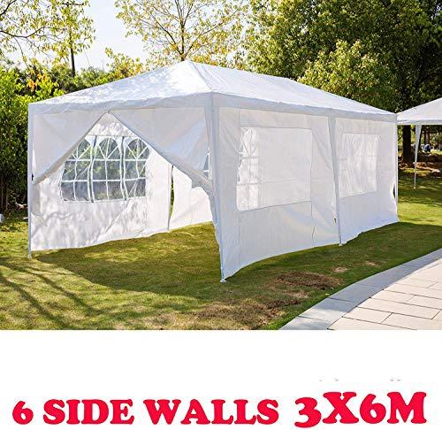 HYLH Gazebo 6x3m Blanc avec 6 Murs Latéraux Amovibles Fer Construction Garden Party Tente Festival Chapiteau De Mariage 120g PE Couverture