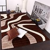 Paco Home Designer Teppich mit Konturenschnitt Wellen Muster Braun Beige Creme, Grösse:120x170 cm