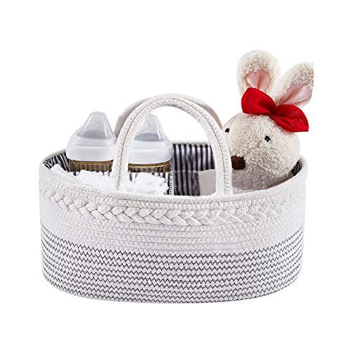 Organizador de pañales para bebé, divisor desmontable para pañales de almacenamiento, 100% cuerda de algodón, cesta de pañales portátil multifuncional grande para mamá (blanco y negro)