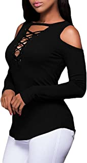 OrchidAmor Womens Autumn Winter Long Sleeve Tops,Womens Sexy Solid Strapless V-Neck Bandage Long Sleeve T-Shirt Blouse
