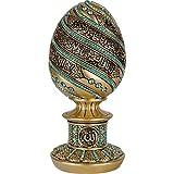Decoración del hogar islámica, gotas de lluvia, huevo con tronos grabados, Ayat al Kursi, decoración de mesa, resina artificial (16 cm, color azul claro dorado)