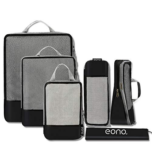 Amazon Brand - Eono Organizzatori da Viaggio a Compressione, Organizer Valigia Set, Cubo di Viaggio, Cubi di Imballaggio, Compression Packing Cube - 6 Pezzi, Nero