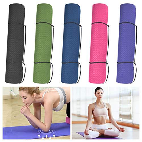 Wishstar Esterilla de gimnasia, antideslizante, esterilla de yoga, esterilla de deporte para el hogar, esterilla de yoga, esterilla de entrenamiento, 180 x 60 x 1,5 cm, incluye tirantes