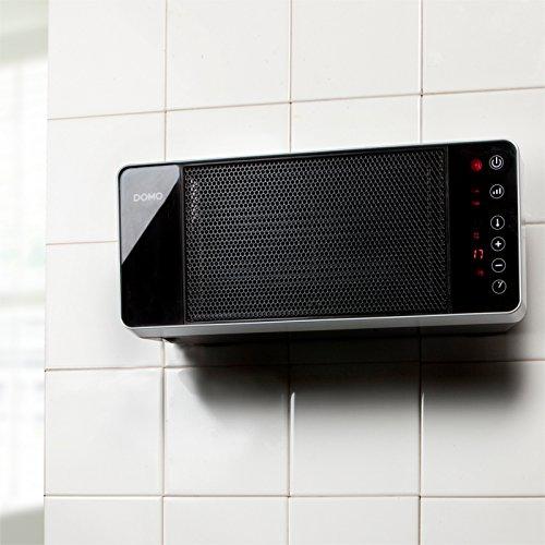 Wandheizung mit Fernbedienung und 2 Heizstufen. Heizung mit Spritzwasserschutz nach IP 21, somit optimal nutzbar in Ihrem Badezimmer. Heizlüfter auch zur Wandmontage geeignet. Touch-Bedienfeld - 4