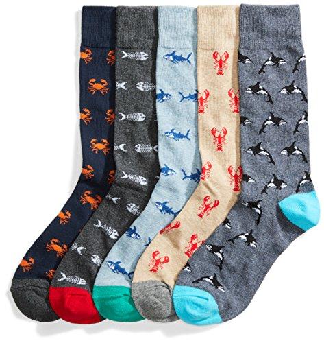 Goodthreads 5-Pack Patterned Socks Calcetines, Multicolor (Assorted Sea Life), Large Talla del Fabricante Taglia Produttore Shoe Size 8-12