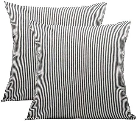 Black White Farmhouse Striped Throw Pillow Covers Decorative Cotton Linen Ticking Soft Cushion product image