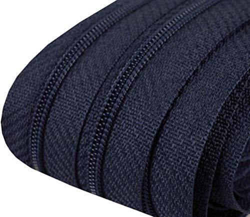 5m Reißverschluss endlos 3mm spiralförmig + 15 Zipper #330 marine(0,59€/m)