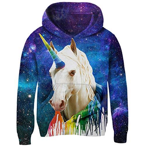 AIDEAONE Kids Boys Girls 3D Unicorn Galaxy Print Pullover Hoodie Funny Sweatshirt