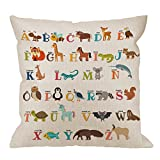 HGOD DESIGNS Alphabet Pillow Cover,Decorative Throw Pillow Alphabet Cute Zoo with Animals Pillow Cases Cotton Linen Outdoor Indoor Square Cushion Covers for Home Sofa Couch 18x18 inch Colorful