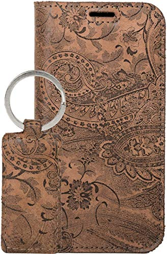 SURAZO Handy Hülle Für Samsung Galaxy A51 - RFID Smart Magnet Ornament Braun - Glattleder & Veloursleder Premium - Vintage Wallet Hülle