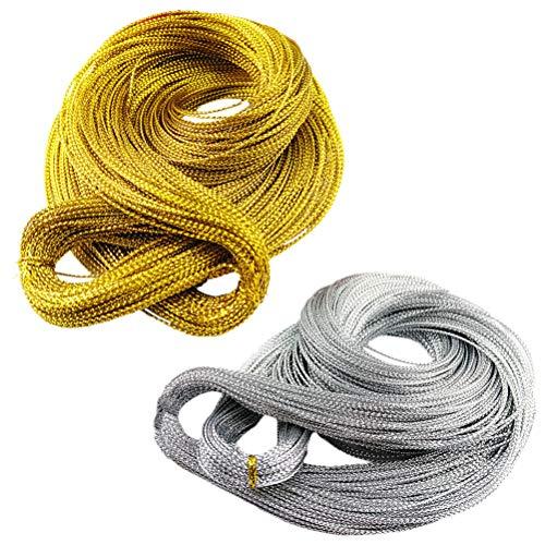 Artibetter 2 Bundles Rotoli di Filo di Rame Rotolo di Filo per Gioielli Perline Filo Seta per Gioielli Fai da Te (Oro + Argento)