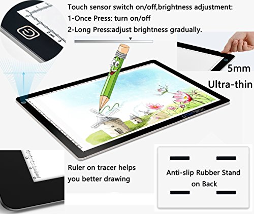 tiktecklab A4 Size Ultra-Thin Portable Tracer White LED Artcraft Tracing Pad Light Box w dimmable Brightness for 5D DIY Diamond Painting Artists Drawing Sketching Animation, Black
