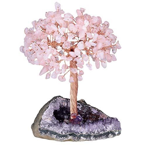 Amogeeli Healing Crystal Copper Money Tree with Raw Amethyst Cluster Base, Zen Stone Bonsai Home Decoration