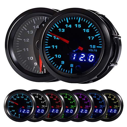 """HOTSYSTEM 7 Color Voltmeter Volt Gauge Kit 8 to 18 Volt Pointer & LED Digital Readouts 2-1/16"""" 52mm Black Dial for Car Truck"""