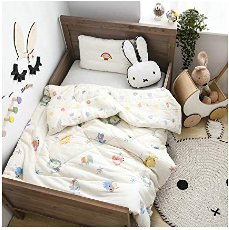 KFZ Breathable Gauze Cotton Kids Comforter  Kids Reversible Bedding Features YMF19 Dinosaur Rabbit Tiger Elephant Car Designs Full Cotton Fill 1PC (Tiger, Multi, 47 x60  1250g)