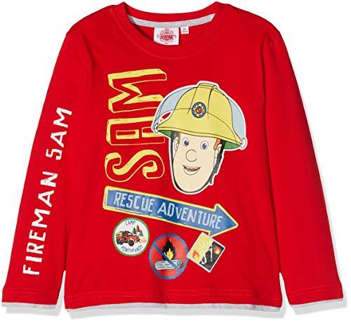 Feuerwehrmann Sam Jungen T-Shirt, Rot, 98 (Herstellergröße: 3 Jahre)