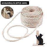 Corde en sisal pour chat - Corde en sisal naturel - Arbre à chat - Jouet pour chat - Accessoire pour animaux de compagnie - Nécessite une protection contre les rayures - Canapé
