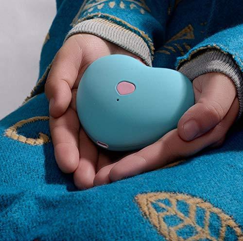 Generic Réchauffeur de Main en Forme de Coeur LLSUK créatif, Recharge de trésor, Double Usage, Mini réchauffeur antidéflagrant, réchauffeur de Main électrique USB, Bleu