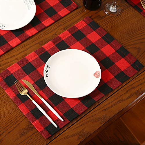 """Christmas Buffalo Plaid Placemats Set of 6, Cotton & Burlap Reversible Buffalo Check Place Mats Xmas Decorations for Dining Table,12""""x17"""""""